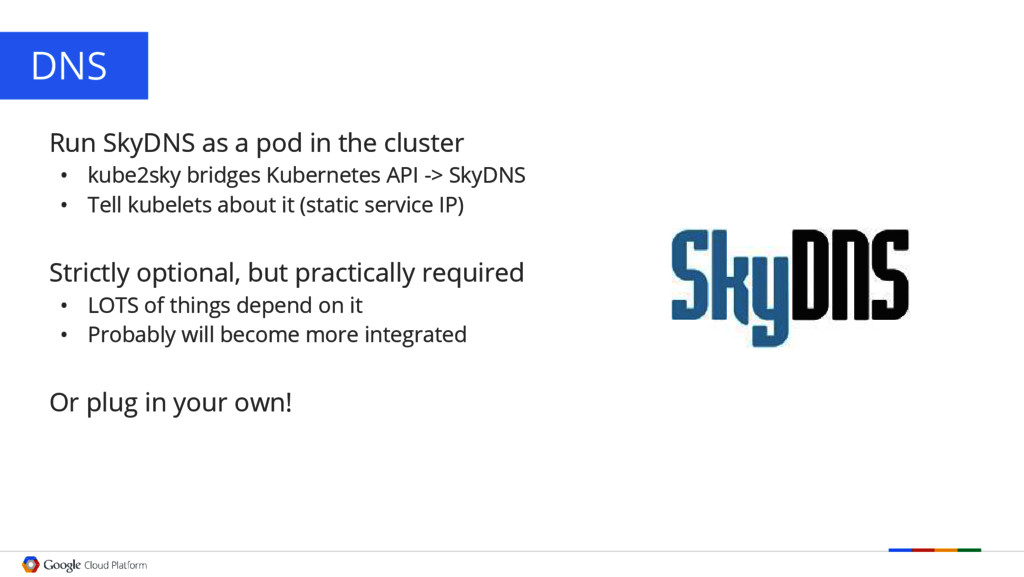 DNS Run SkyDNS as a pod in the cluster • kube2s...