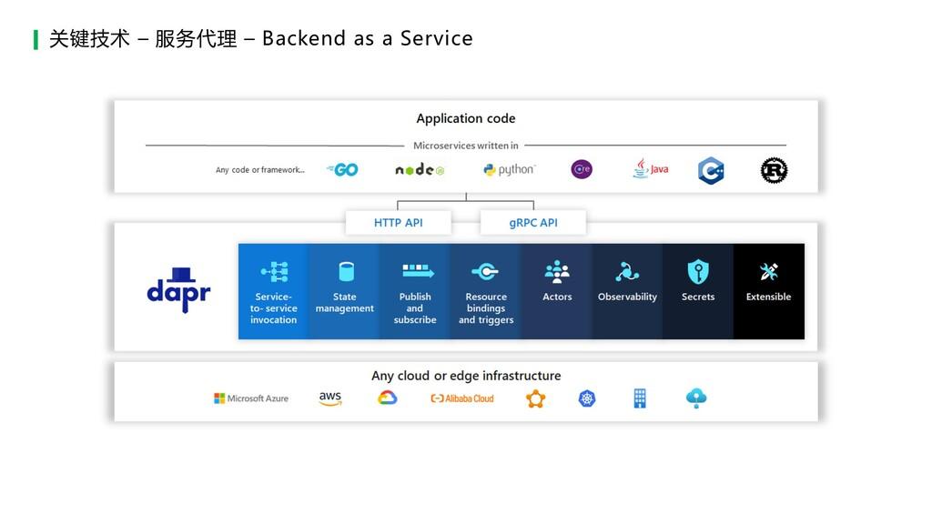 关键技术 – 服务代理 – Backend as a Service
