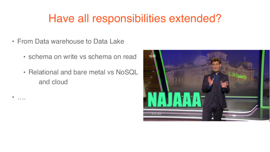 Have all responsibilities extended? • From Data...