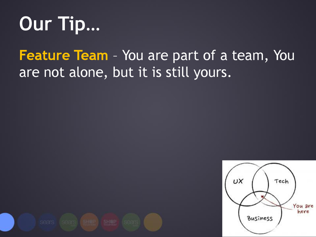 Our Tip… Feature Team – You are part of a team,...