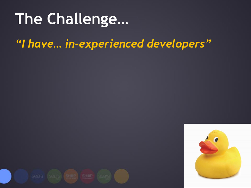 "The Challenge… ""I have… in-experienced develope..."