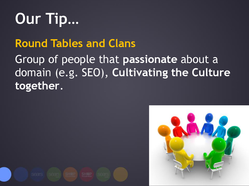 Our Tip… Round Tables and Clans Group of people...