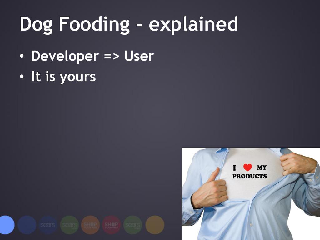 Dog Fooding - explained • Developer => User • I...