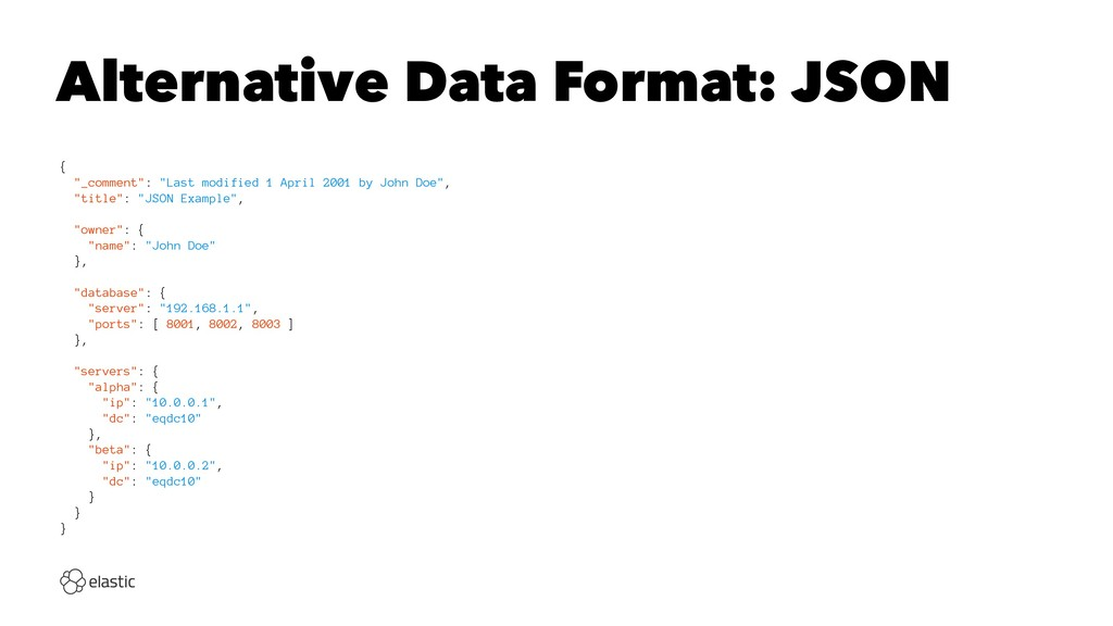 "Alternative Data Format: JSON { ""_comment"": ""La..."
