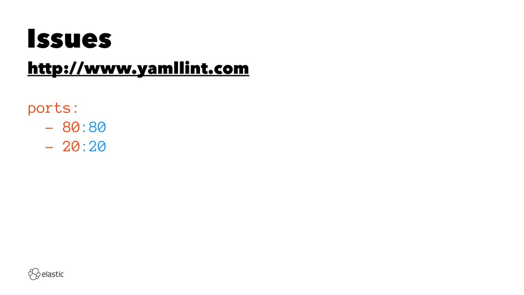 Issues http://www.yamllint.com ports: - 80:80 -...