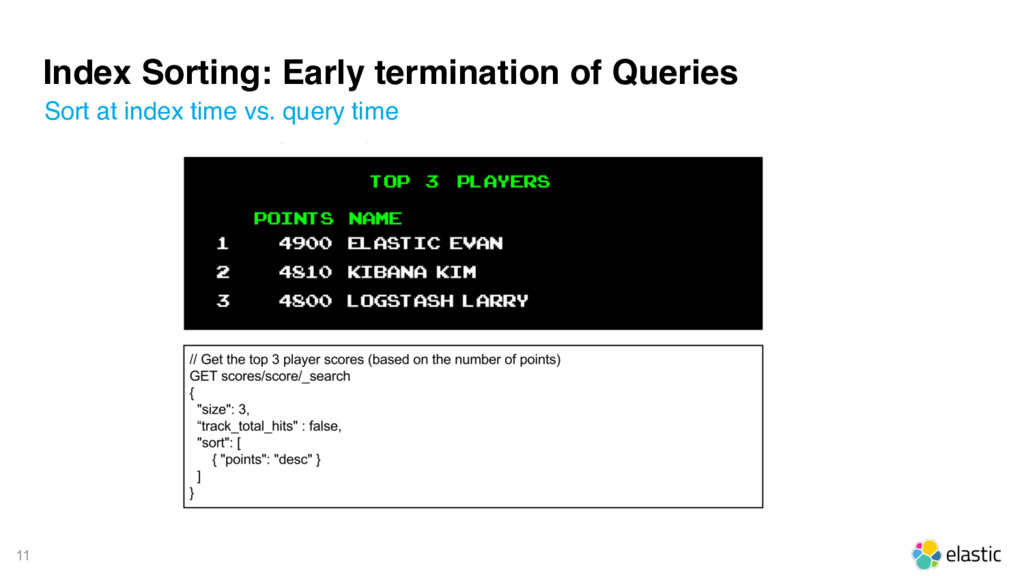 11 Index Sorting: Early termination of Queries ...