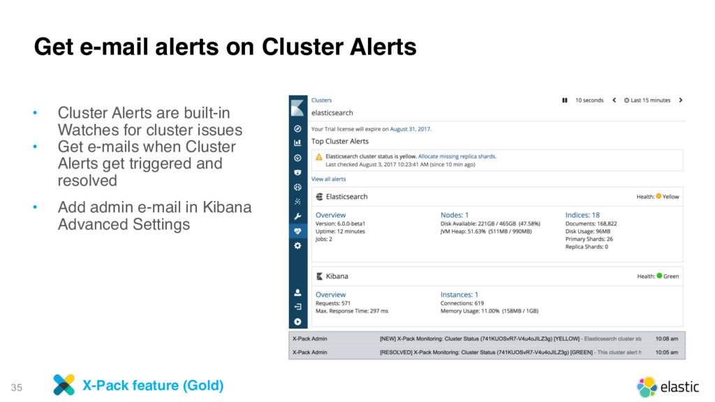 35 Get e-mail alerts on Cluster Alerts • Cluste...