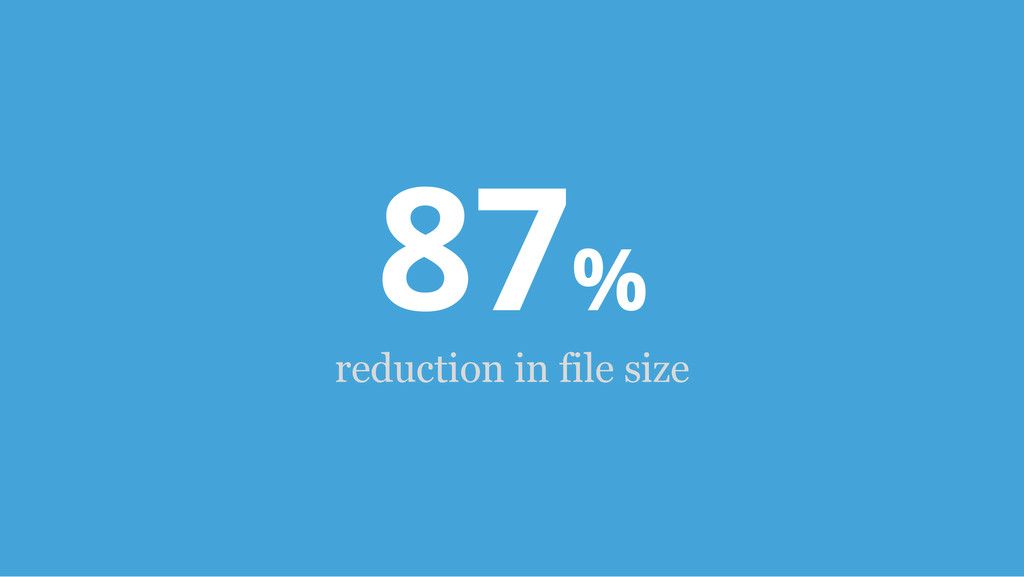 87% reduction in file size