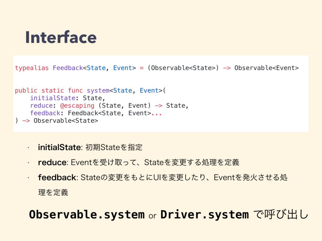 typealias Feedback<State, Event> = (Observable<...