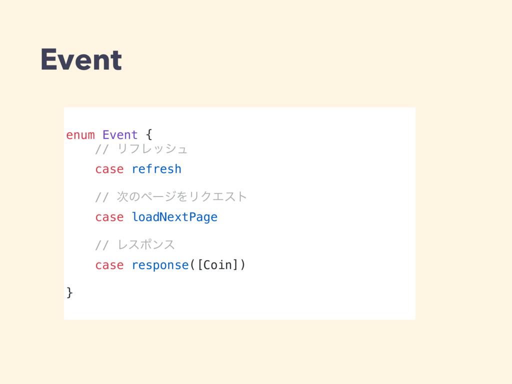 Event enum Event { // ϦϑϨογϡ case refresh // ͷ...