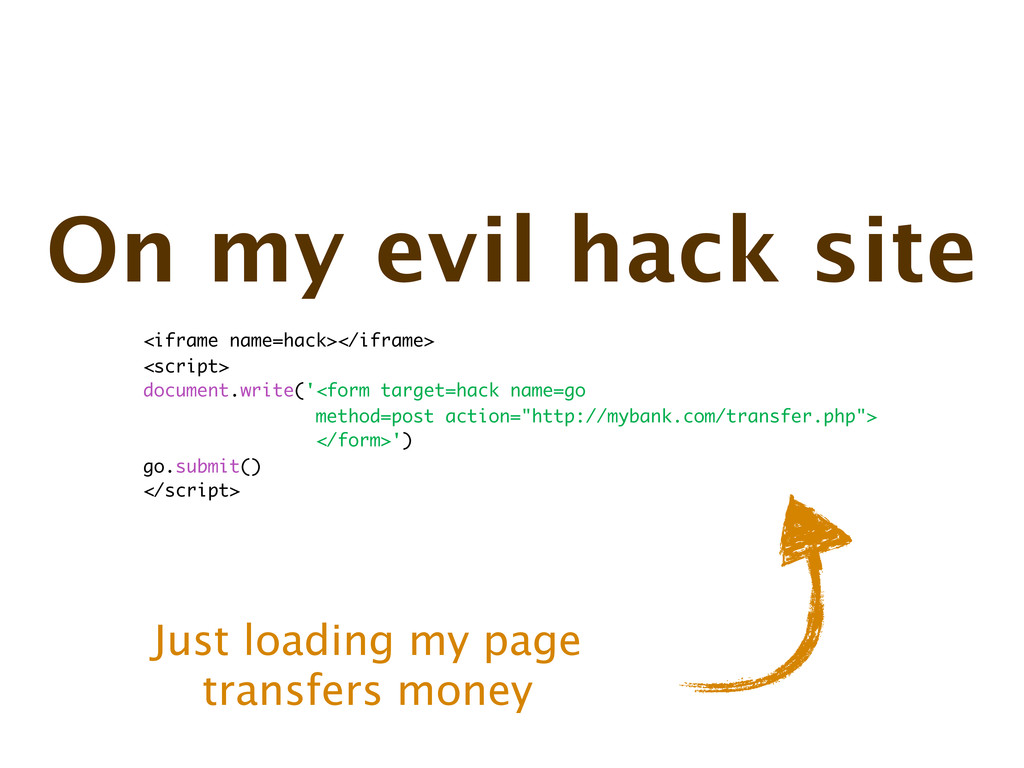 On my evil hack site Just loading my page trans...