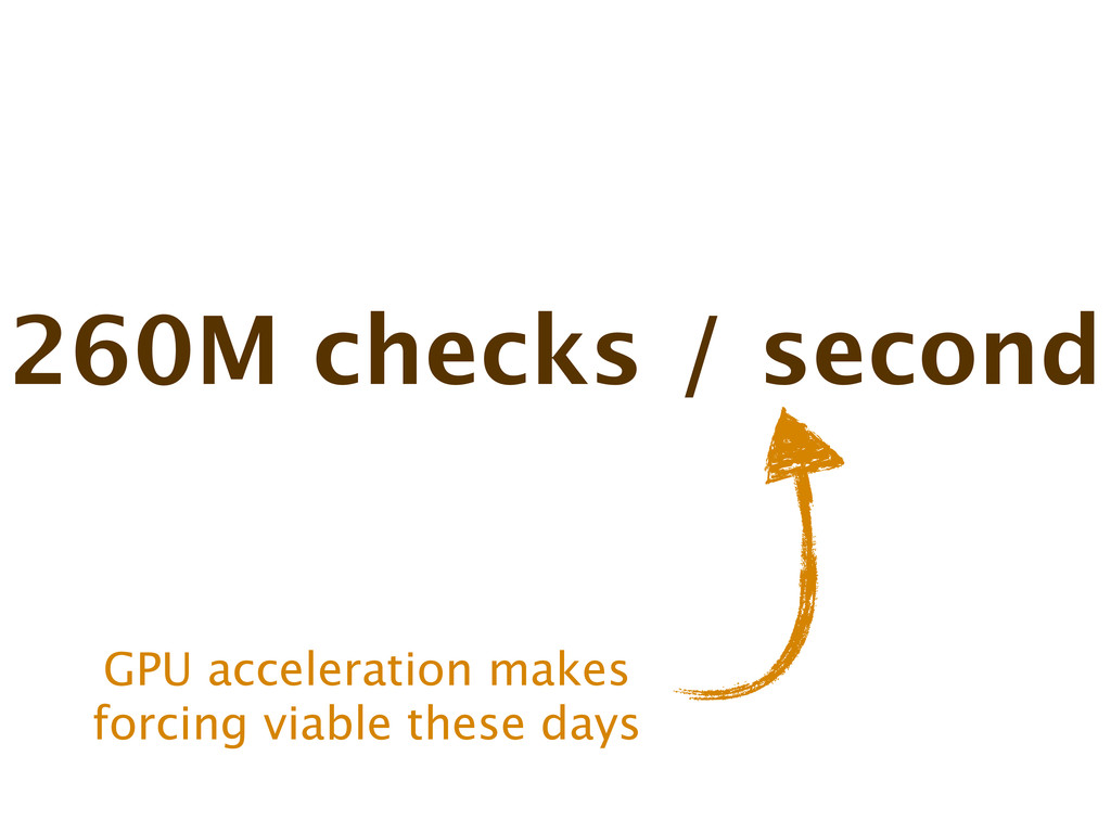 260M checks / second GPU acceleration makes for...