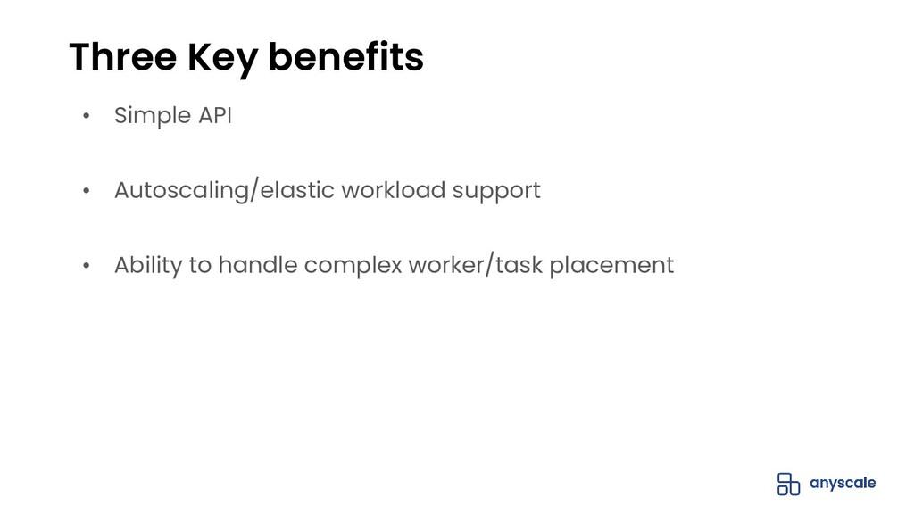 • Simple API • Autoscaling/elastic workload sup...
