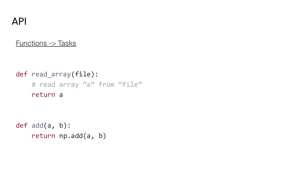 API Functions -> Tasks def read_array(file): # ...