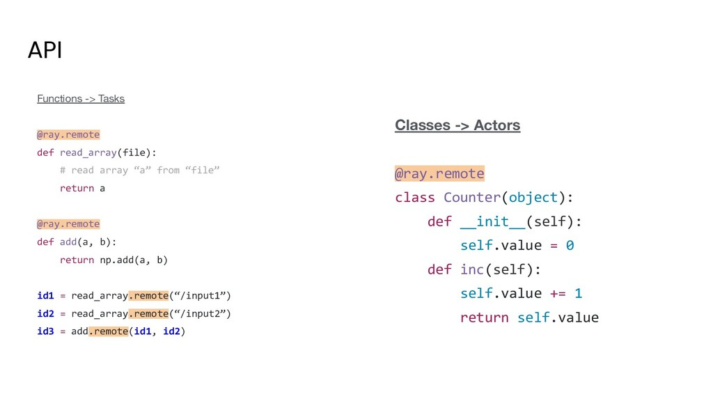 API Functions -> Tasks @ray.remote def read_arr...