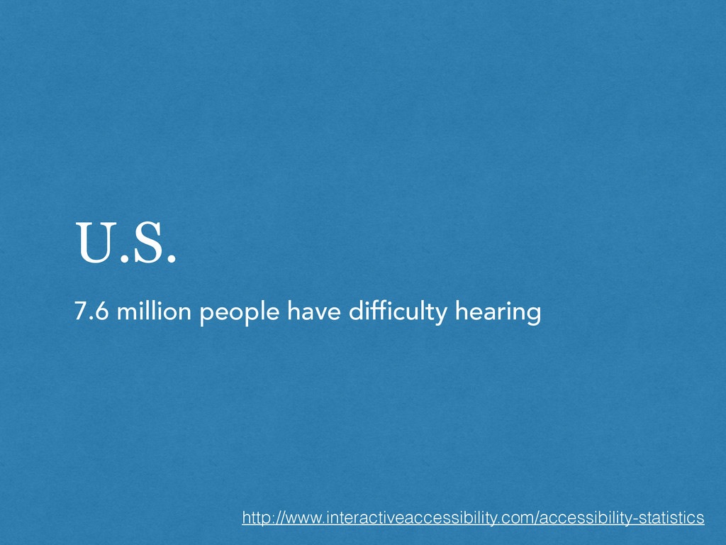 U.S. 7.6 million people have difficulty hearing...