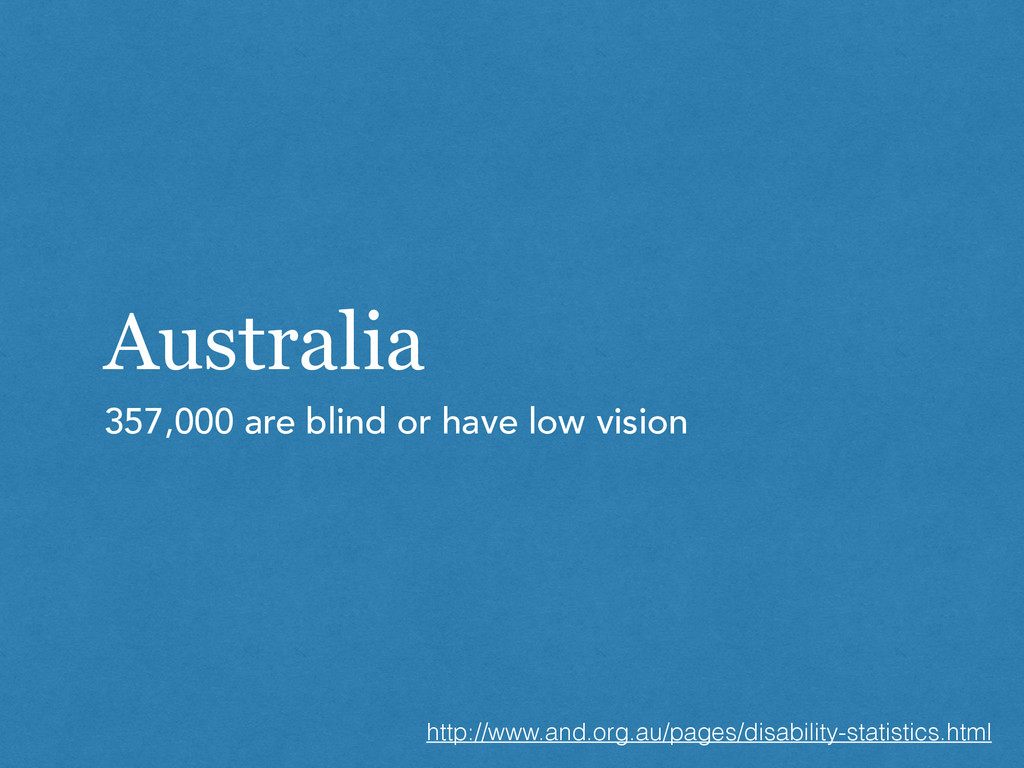 Australia 357,000 are blind or have low vision ...