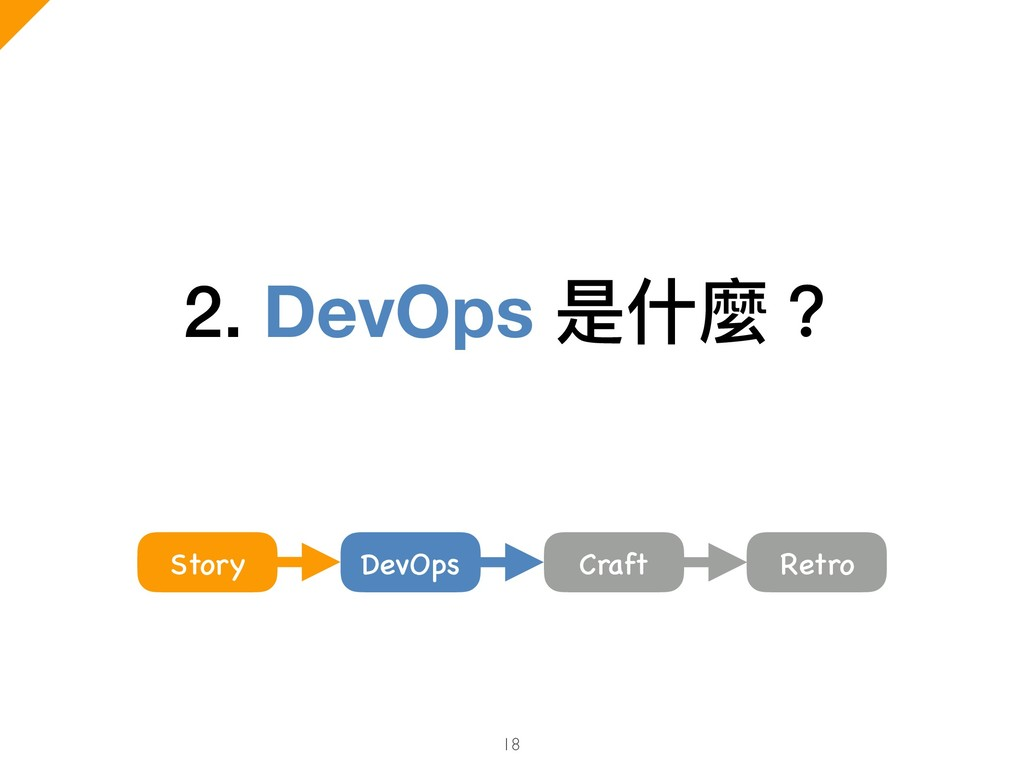 2. DevOps 是什什麼? 18 Craft Story DevOps Retro