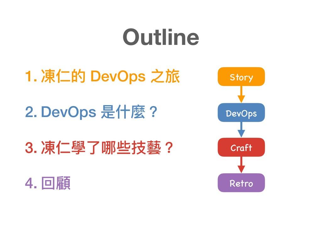 1. 凍仁的 DevOps 之旅 2. DevOps 是什什麼? 3. 凍仁學了了哪些技藝? ...