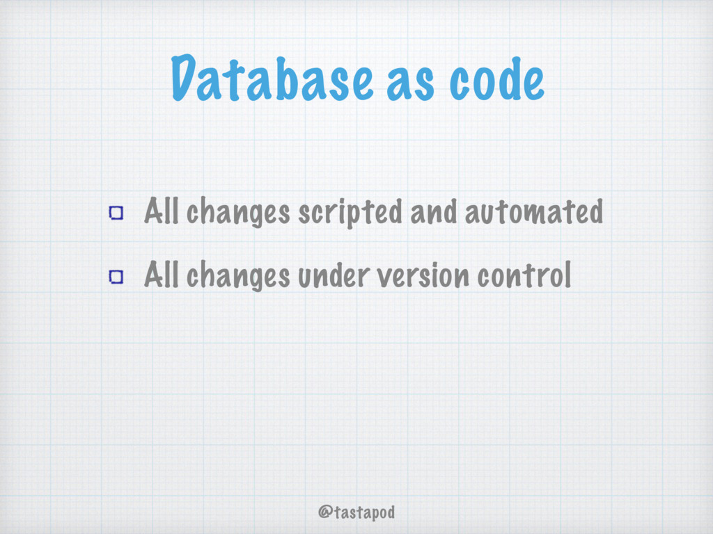 @tastapod Database as code All changes scripted...