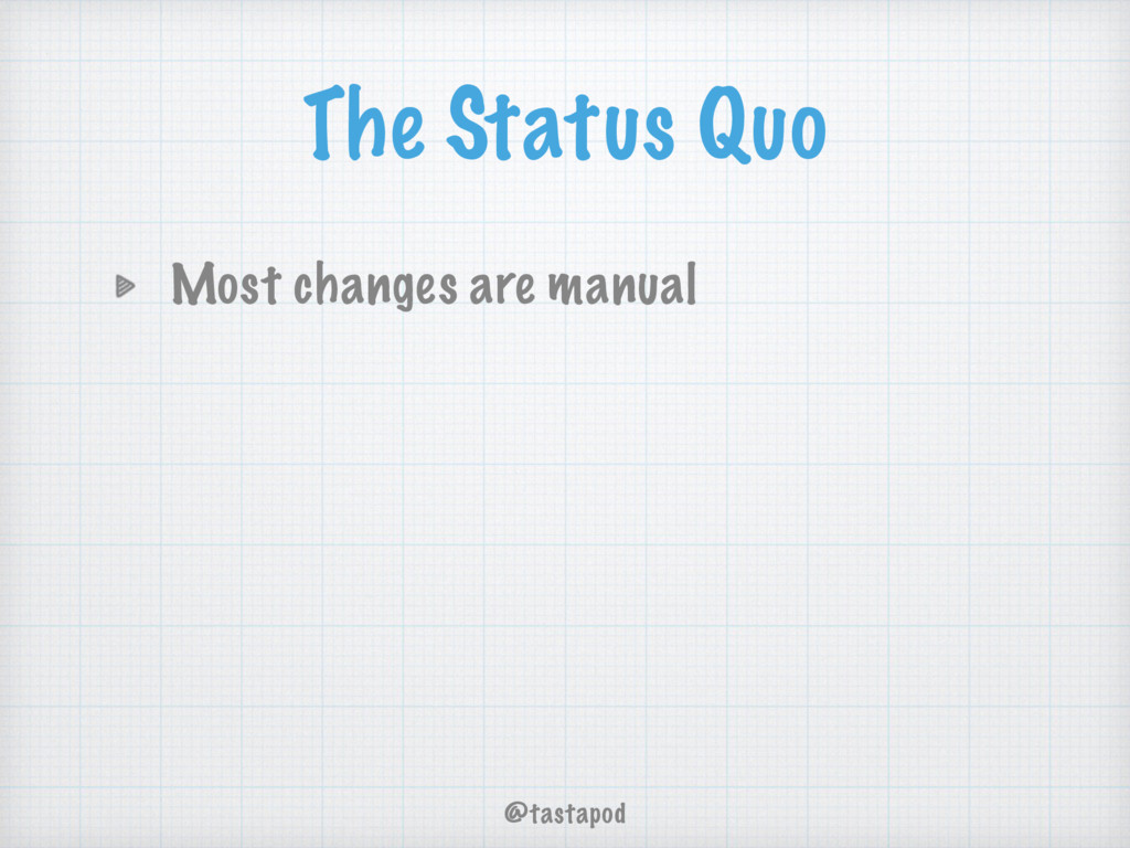 @tastapod The Status Quo Most changes are manual