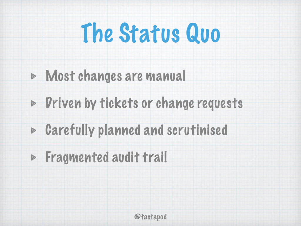 @tastapod The Status Quo Most changes are manua...