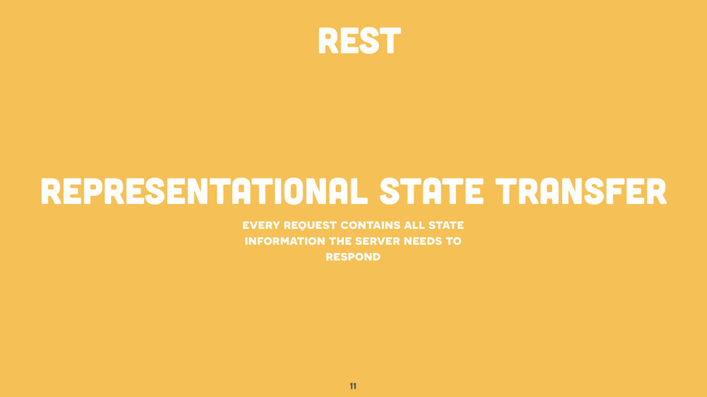 REpresentational state transfer 11 every reques...