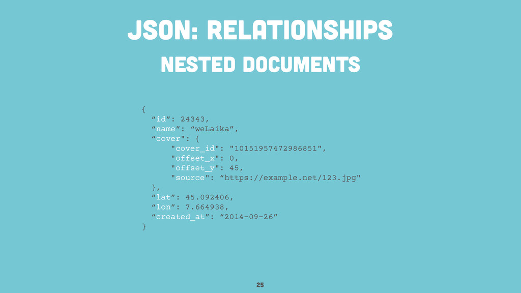 """nested documents 25 JSON: relationships { """"id"""":..."""