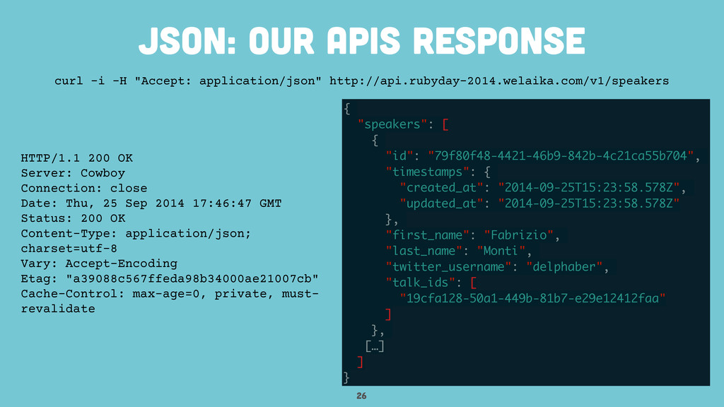 "26 JSON: our apis response { ""speakers"": [ { ""i..."
