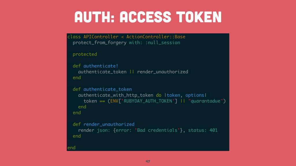 47 AUTH: access token class APIController < Act...