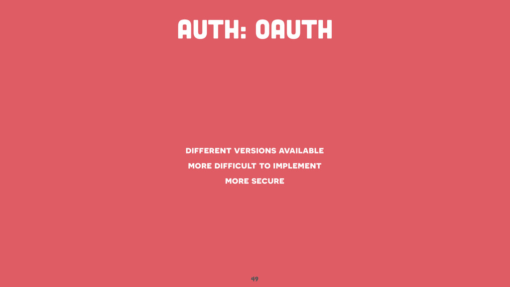 49 AUTH: oauth different versions available mor...