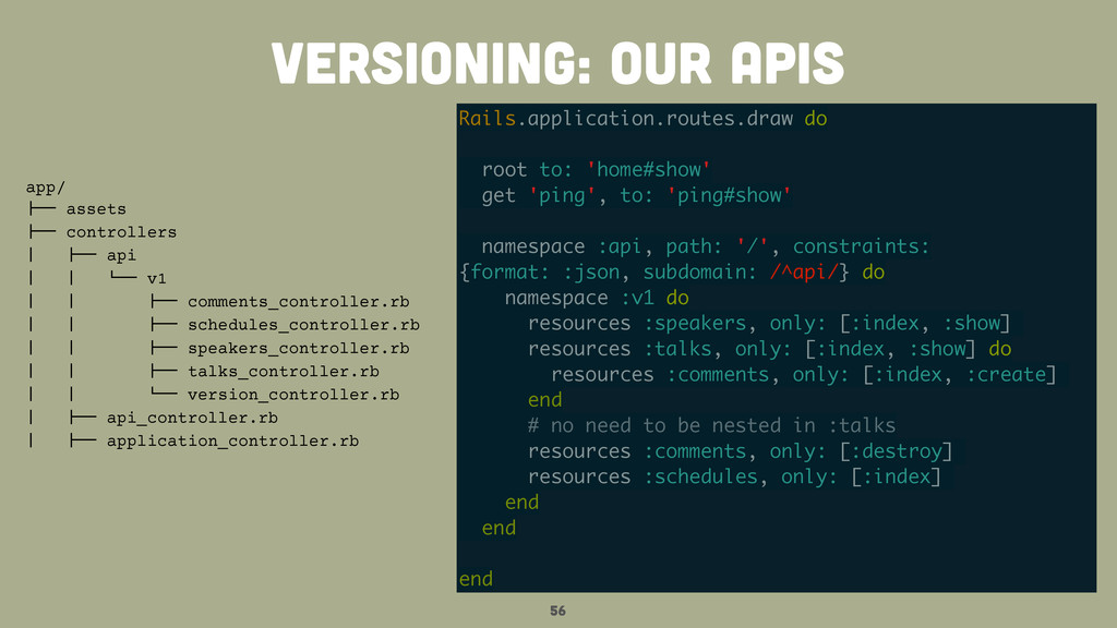 56 versioning: our APIS Rails.application.route...