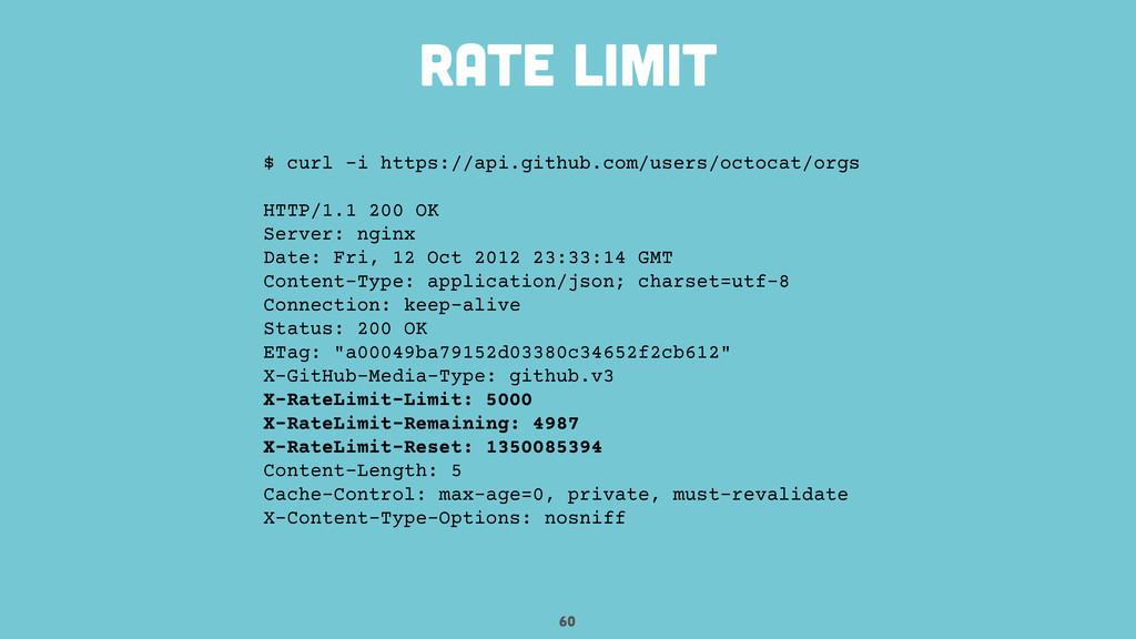 60 rate limit $ curl -i https://api.github.com/...