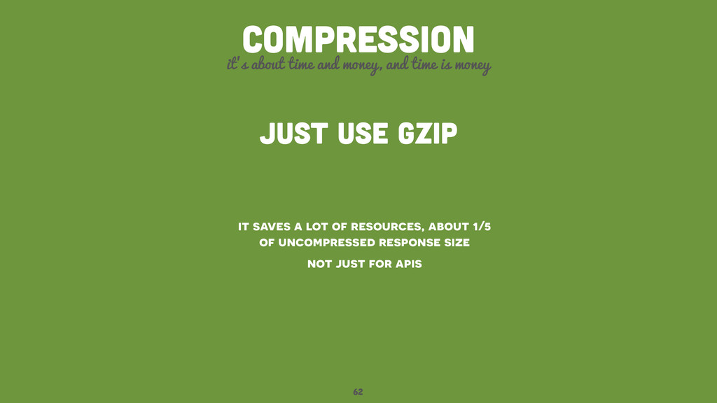 62 compression it's about time and money, and t...