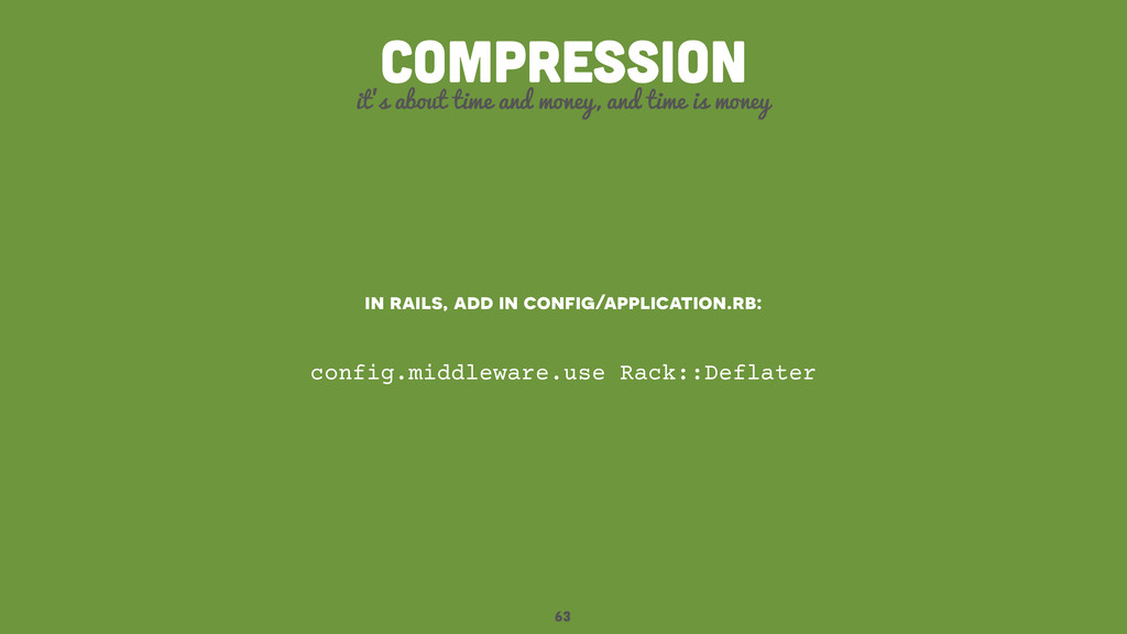 63 compression it's about time and money, and t...