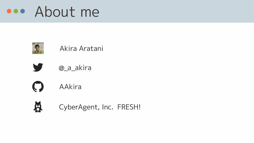 About me @_a_akira AAkira CyberAgent, Inc. FRES...