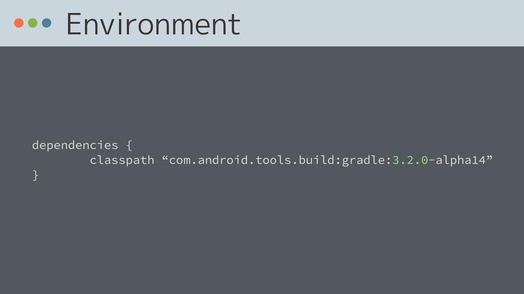 "Environment  dependencies { classpath ""com.and..."