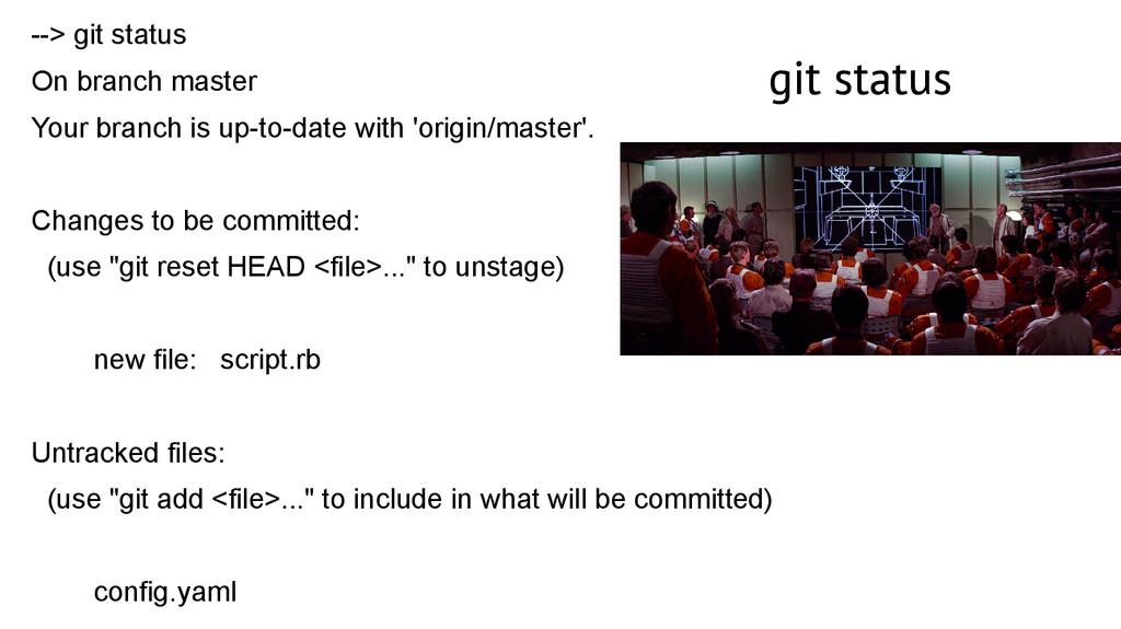git status --> git status On branch master Your...