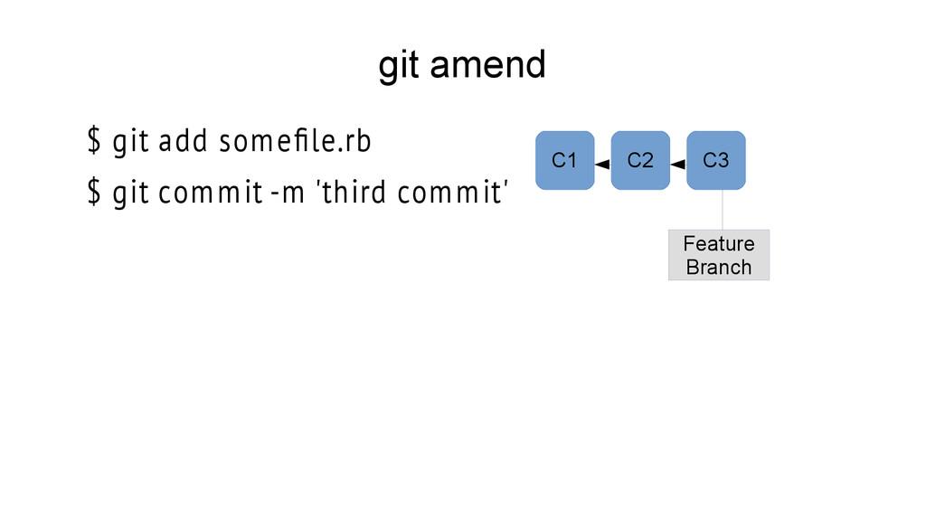 git amend $ git add somefle.rb $ git commit -m ...