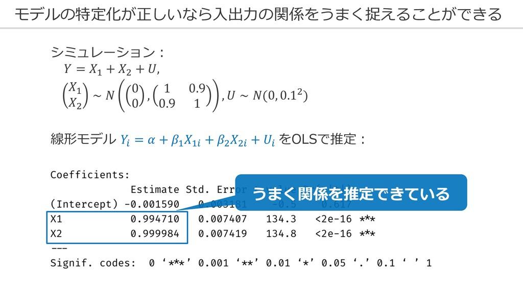 モデルの特定化が正しいなら⼊出⼒の関係をうまく捉えることができる 線形モデル 8 =  + $...