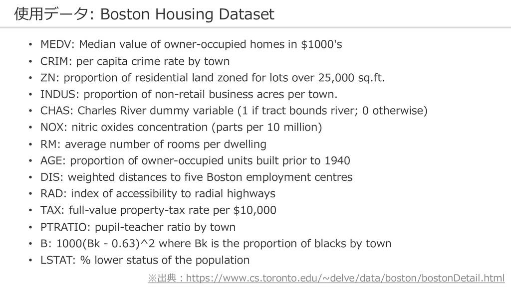 使⽤データ: Boston Housing Dataset • MEDV: Median va...
