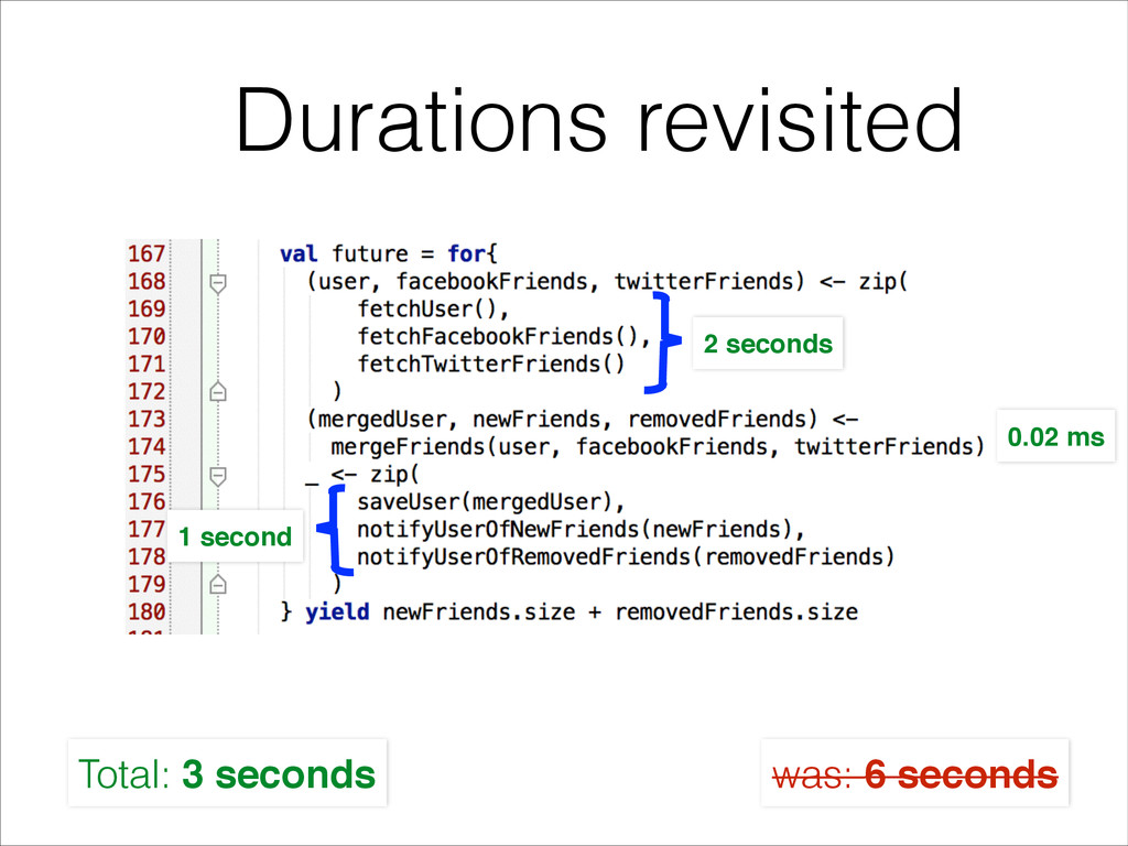 Durations revisited 2 seconds 1 second 0.02 ms ...