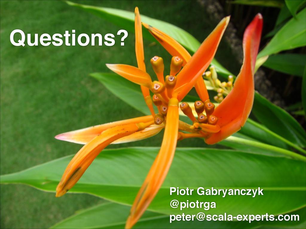 Questions? Piotr Gabryanczyk! @piotrga! peter@s...