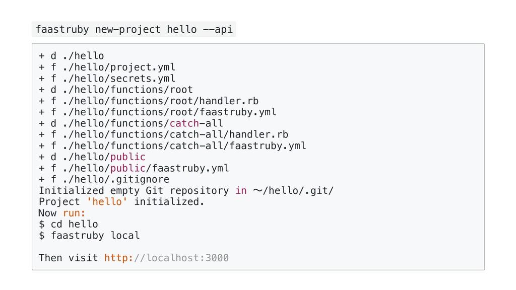 faastruby new-project hello --api + d ./hello +...