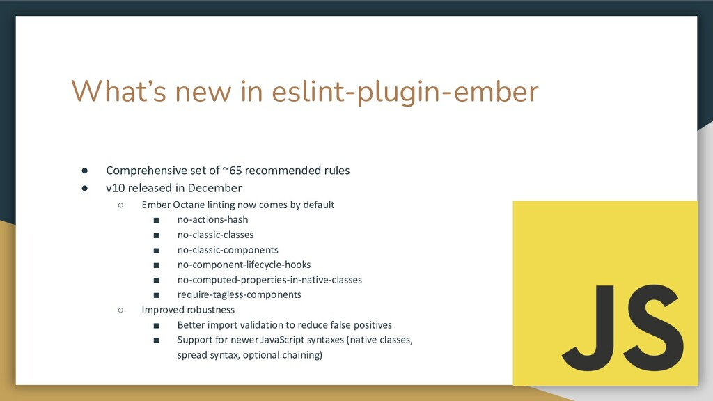 What's new in eslint-plugin-ember ● Comprehensi...
