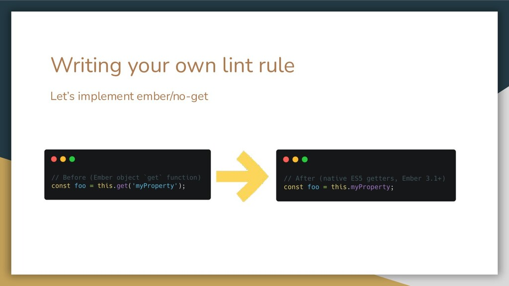 Let's implement ember/no-get Writing your own l...