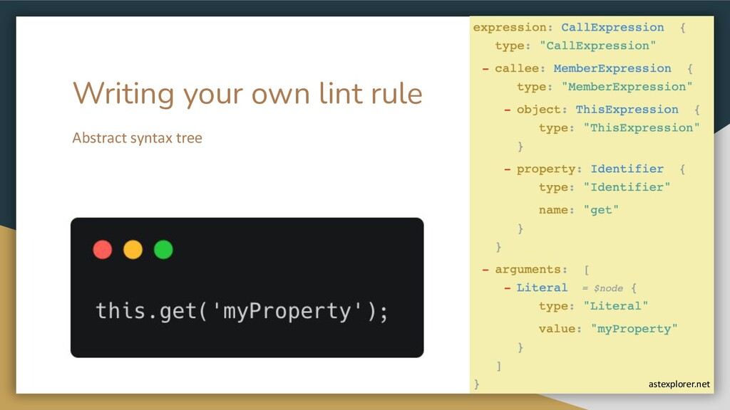 Writing your own lint rule Abstract syntax tree...