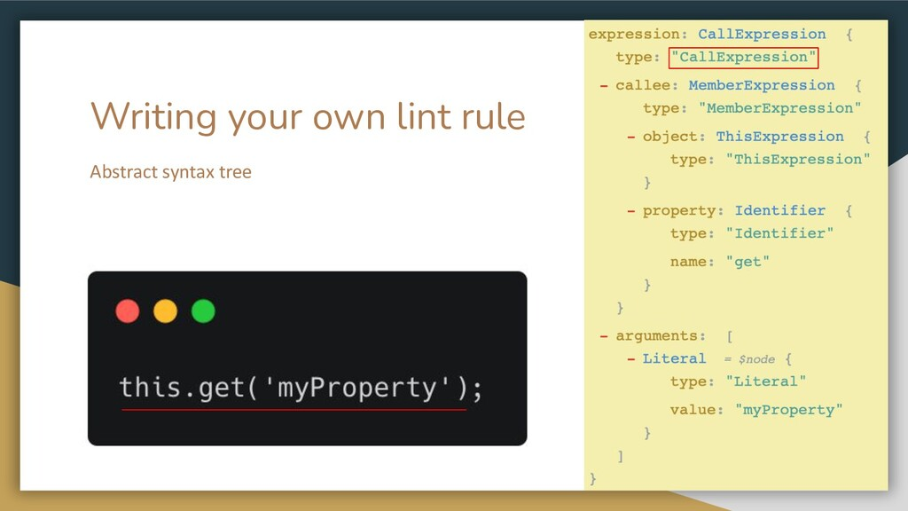 Writing your own lint rule Abstract syntax tree