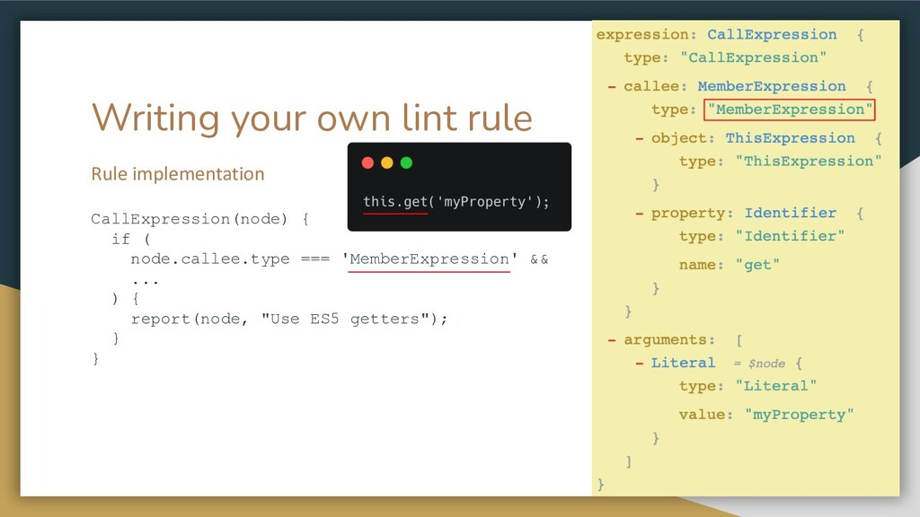 Writing your own lint rule Rule implementation ...