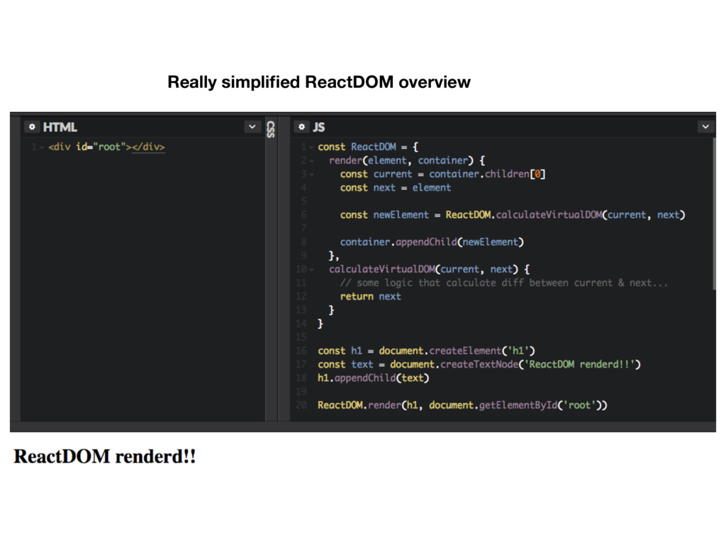 Really simplified ReactDOM overview